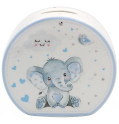 this blue ceramic money bank will be sure to make a sweet gift idea for any new born baby