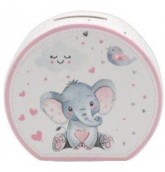 this pink ceramic money bank will be sure to make a sweet gift idea for any new born baby
