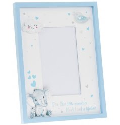 A beautiful wooden picture frame with an added blue Bird and Ellie decal