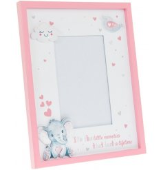 A beautiful wooden picture frame with an added pink Bird and Ellie decal
