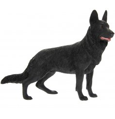 Attractive polyresin ornament of a black coloured German Shepherd dog, giftboxed. Measures approx 20 x 8 x 17 cm high