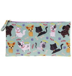 Stag organised with this colourful and quirky cats and dogs design pencil case with zip opening.