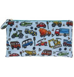 A popular transport design pencil case for kids with an interest in tractors, cars and rescue vehicles!