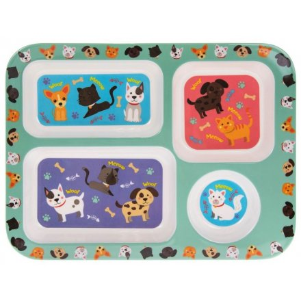 Dinner Tray, Cats and Dogs