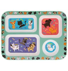 A colourful and cute 4 compartment dinner tray for children.