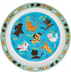 A colourful and quirky dinner plate for children featuring a cute cats and dogs design.