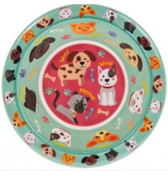 A colourful and quirky children's bowl with a cute cat and dog design.