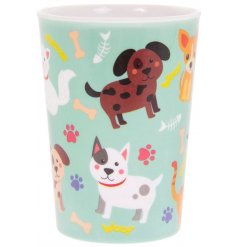 A colourful and quirky children's beaker with a cute cat and dog design.