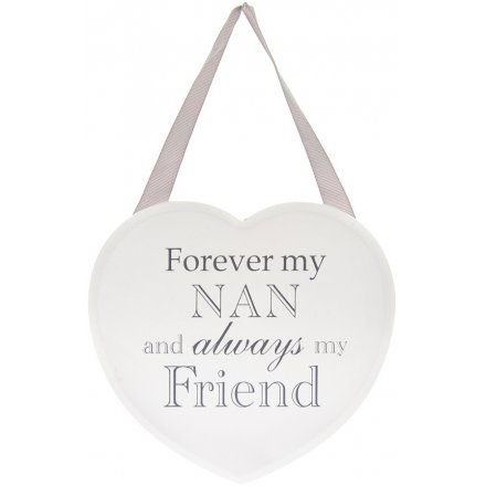 17 cm Grey and White Heart Plaque - Forever My Nan