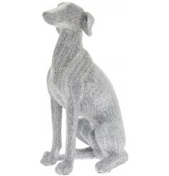this sitting greyhound ornament will be sure to add a glitz effect to any space