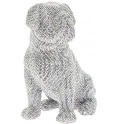 A sitting Pug ornament covered in sparkling diamonte accents