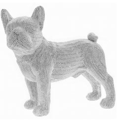 A standing French Bulldog ornament covered in sparkling diamonte accents