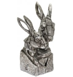A stunning bust featuring two silver hares. A luxury living item from our new natural world collection.