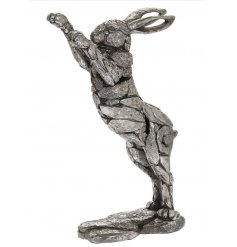 A fine quality silver boxing hare ornament with a wonderfully textured finish. From our new natural world range.