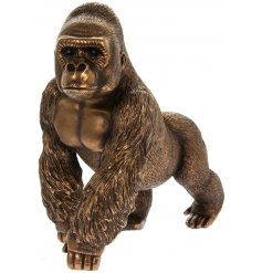 A fine quality, luxury living, gorilla figure in bronze from our popular Reflections range.