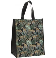 A top trending Jaguar jungle design decorates this practical reusable shopping bag.