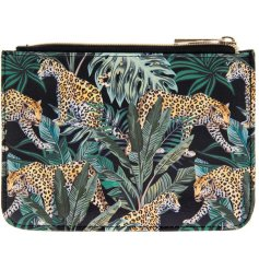 A top trending Jaguar jungle design decorates this stylish purse perfect for your essentials to slip in your handbag.