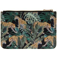 A wild themed clutch bag featuring a jaguar and palm leave printed design