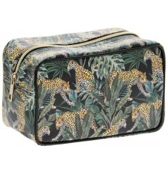 Covered with a jaguar and palm leave decal, this zip up wash bag will be perfect for travelling!
