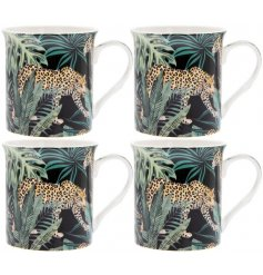 A gorgeous on trend print made up of Jaguars and Palm Leaves, placed upon a set of Fine China Mugs