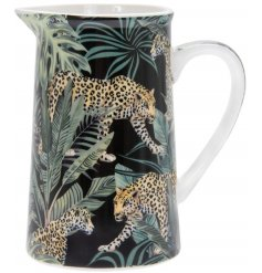 A gorgeous on trend print made up of Jaguars and Palm Leaves, set upon a Fine China Jug