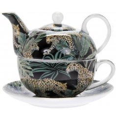 A gorgeous on trend print made up of Jaguars and Palm Leaves, set upon a Fine China Tea For One