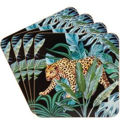 A set of 4 coasters with a top trending Jungle Fever design featuring a jaguar and palm leaves.