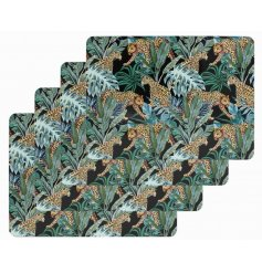 A set of 4 luxurious and on trend placemats with a colourful Jaguar and palm leaf design.