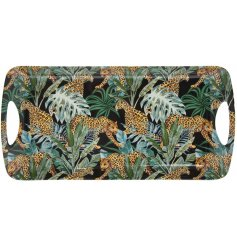 A top trending medium sized tray with a bold and beautiful jungle fever design, featuring a jaguar and palm leaves.