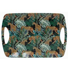 A large tray with carry handles featuring a top trending Jungle Fever design in jewel like colours.