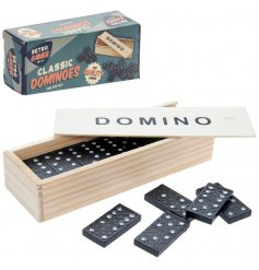 Retro Dominoes in a practical wooden storage box