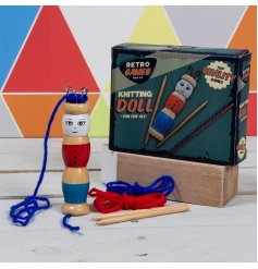 Retro Games Knitting Doll - teach a traditional skill with a brightly coloured toy