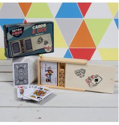 The Retro Games Poker set contains 2 packs of cards and a set of dice in a neat wooden storage box