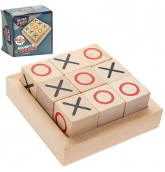 The Retro Games Noughts & Crosses set is crafted from natural wood and painted with bright colours.