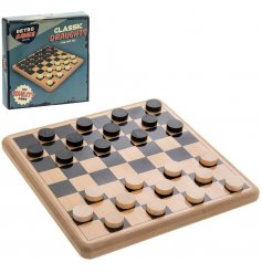 The Retro Games Draughts Set is classically styled and crafted from natural wood.