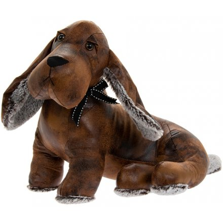 Faux Leather Sitting Dachshund Doorstop