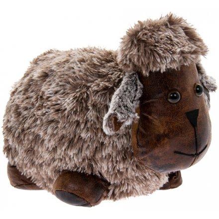 28 cm Fuzzy Faux Fur Sheep Doorstop