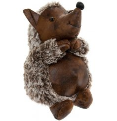 A charming little hedgehog doorstop made of faux fur and leather