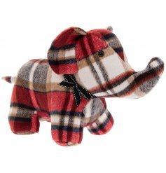 A standing elephant doorstop made with a red tartan based faux suede fabric