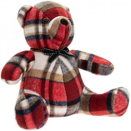 31 cm Faux Suede Tartan Teddy Bear Doorstop
