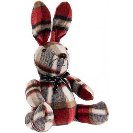 31 cmFaux Suede Tartan Sitting Rabbit Doorstop