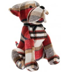A standing dog doorstop made with a red tartan based faux suede fabric