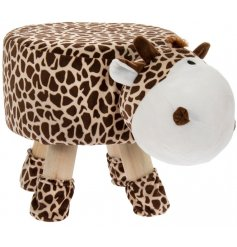 A cute little spotted giraffe themed stool with added protected feet to stop floor scratches