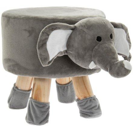 45 cm Grey Elephant Stool