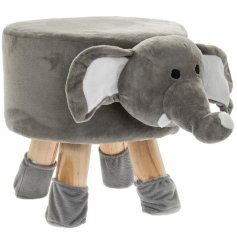 A cute little grey elephant themed stool with added protected feet to stop floor scratches