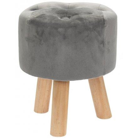 Velvet Grey Stool