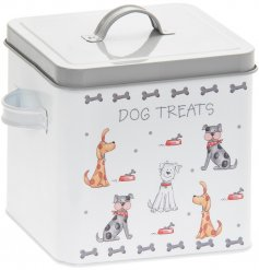 A large metal treat tin covered with a quirky cartoon dog decal
