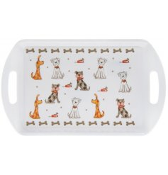 Perfect for any furry friendly home, this handled serving tray features a quirky dog cartoon decal