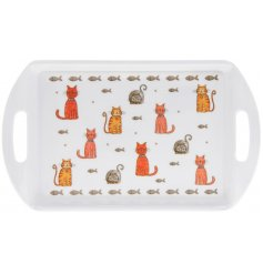 Perfect for any furry friendly home, this handled serving tray features a quirky cat cartoon decal