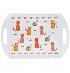 A medium sized serving tray featuring a colourful display of carton kitties